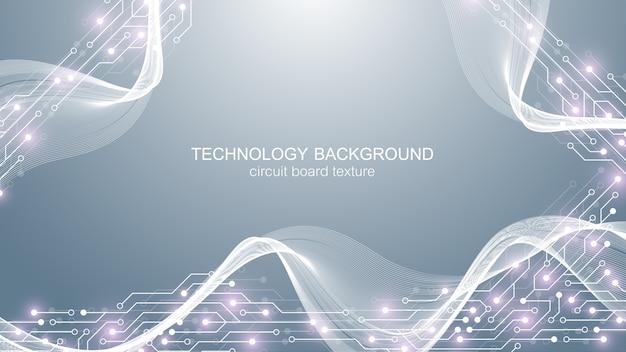 Fundo da placa-mãe do computador com elementos eletrônicos da placa de circuito. . Vetor Premium