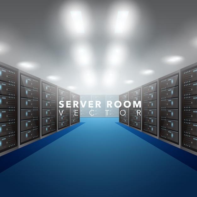 Fundo da sala do servidor Vetor Premium