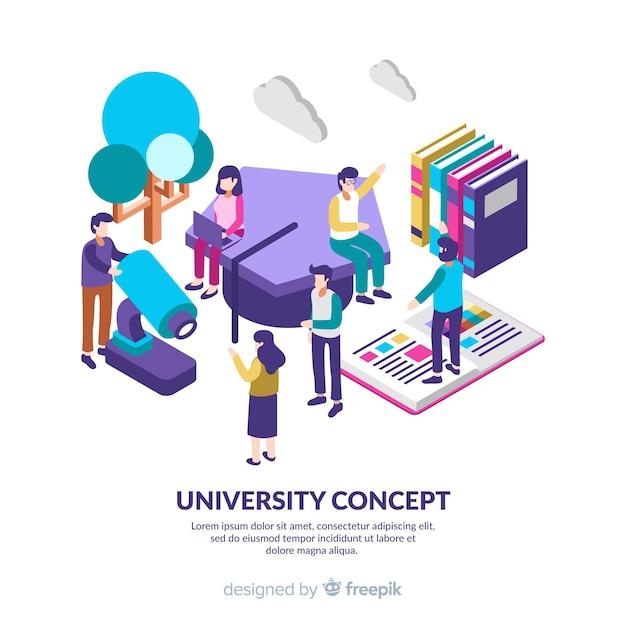 Fundo da universidade isométrica com os alunos Vetor grátis