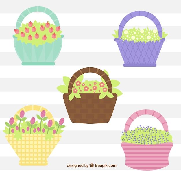 Fundo das cestas com flores Vetor grátis