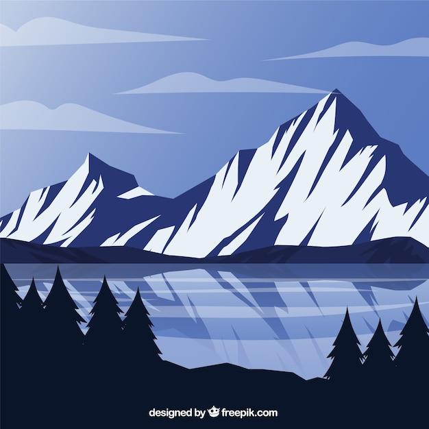 Fundo das montanhas e lago congelado Vetor grátis