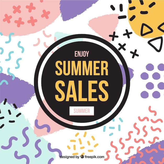 Fundo das vendas de verão com formas modernas Vetor grátis