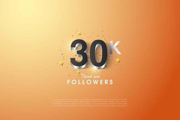 Fundo de 30k seguidores com figuras em relevo em prata. Vetor Premium