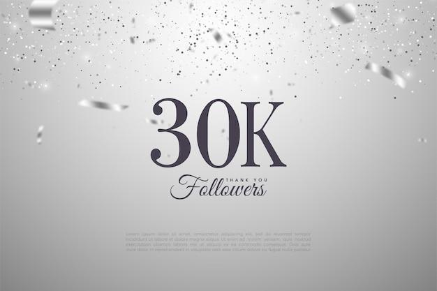 Fundo de 30k seguidores com ilustrações de papel prateado caindo. Vetor Premium