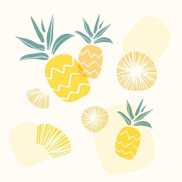 Fundo de abacaxi amarelo Vetor grátis