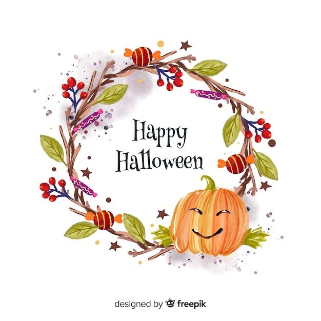 Fundo de abóbora aquarela halloween Vetor grátis