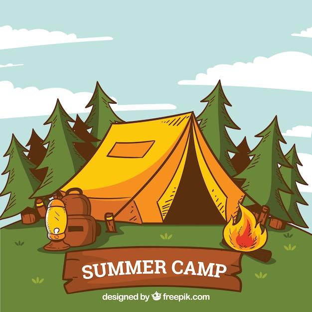 Fundo de acampamento de verão de mão desenhada com tenda e fogueira Vetor grátis