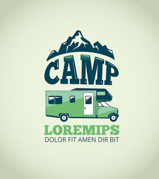 Fundo de acampamento do vetor da aventura da região selvagem. logotipo para acampamento e emblema de ilustração com reboque f Vetor Premium