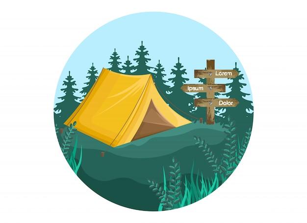 Fundo de acampamento Vetor Premium