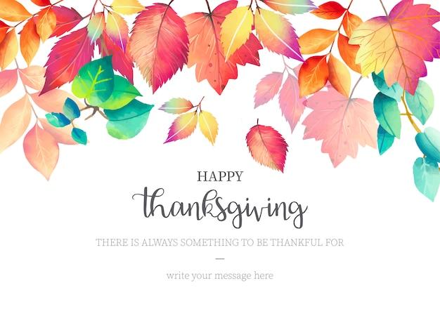 Fundo de ação de graças feliz com folhas de outono Vetor grátis