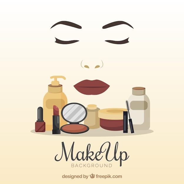 Fundo de acessórios de maquiagem Vetor grátis
