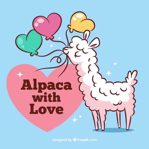Fundo de alpaca bonito com citação Vetor grátis