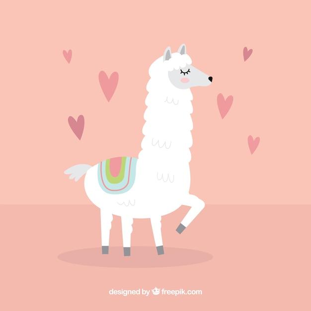 Fundo de alpaca com conceito de amor Vetor grátis