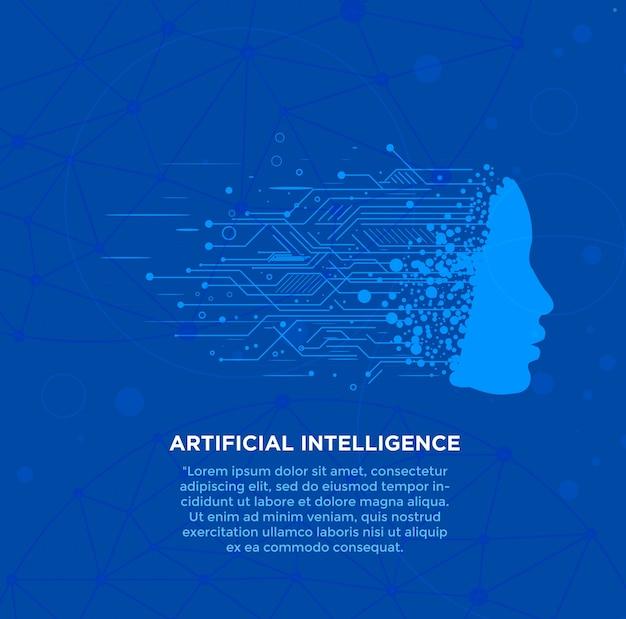 Fundo de alta tecnologia de inteligência artificial Vetor Premium