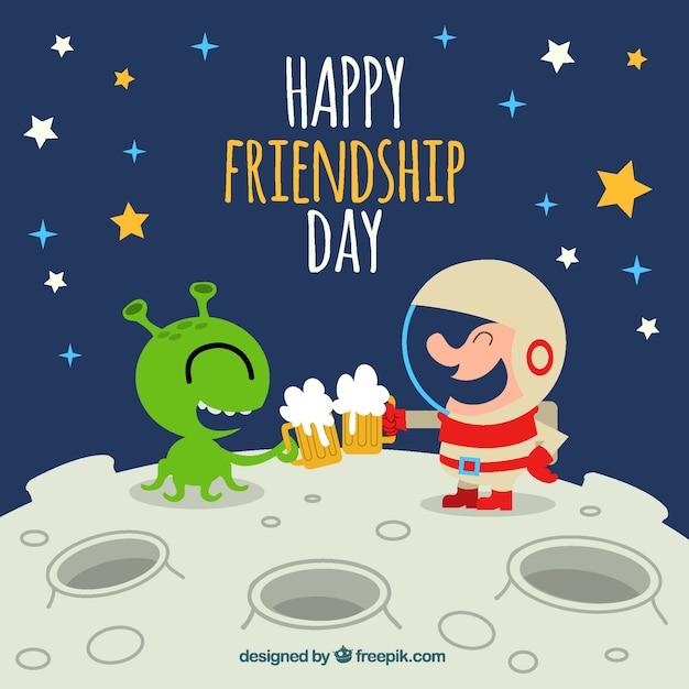 Fundo de amizade feliz com alienígena e astronauta Vetor grátis