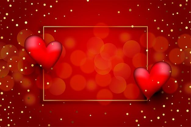 Fundo de amor vermelho lindo com corações e glitter dourado Vetor grátis