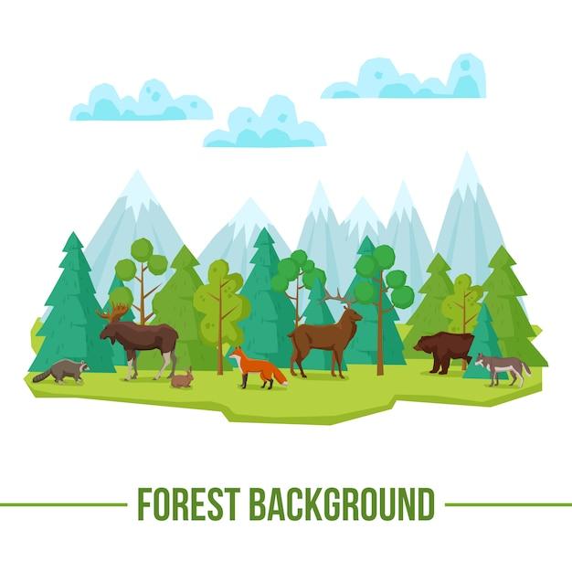 Fundo de animais da floresta Vetor grátis