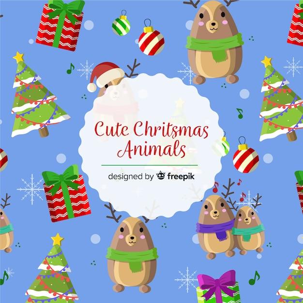 Fundo de animales de natal bonito Vetor grátis