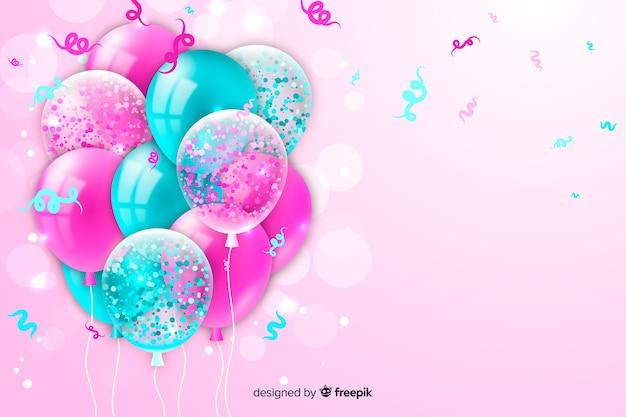 Fundo de aniversário com balões realistas Vetor Premium