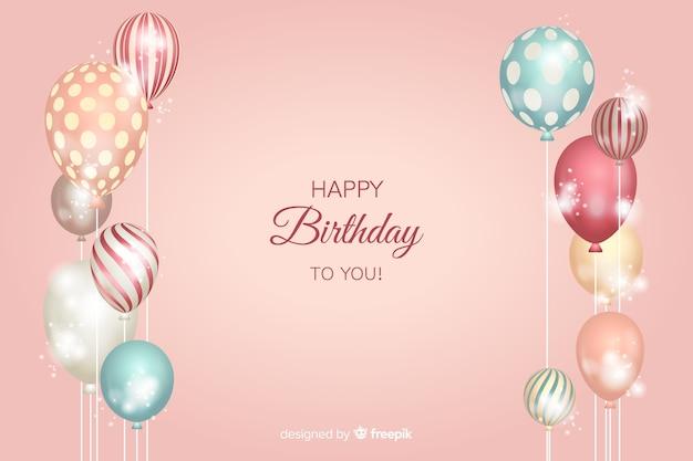 Fundo de aniversário com balões realistas Vetor grátis