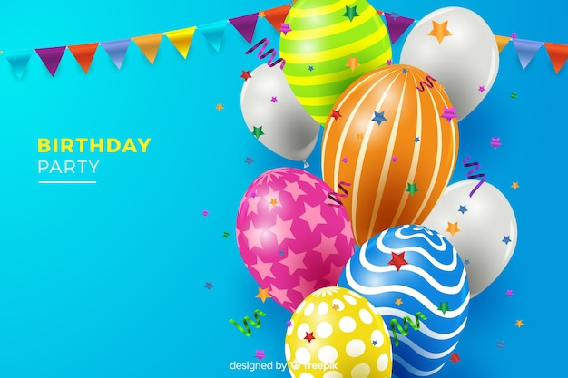 Fundo de aniversário com balões Vetor grátis