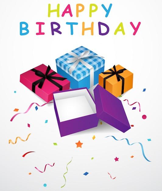 Fundo de aniversário com caixa de presente e confetes Vetor Premium
