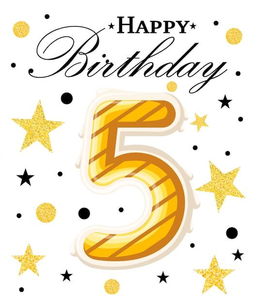 Fundo de aniversário de ano de comemoração de aniversário de quinto ano com fita vermelha e confetes em branco. modelo de cartaz ou brochura. ilustração. página do site e aplicativo móvel. Vetor Premium