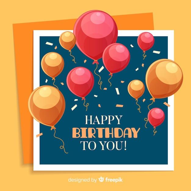 Fundo de aniversário de balões de mão desenhada Vetor grátis