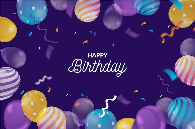 Fundo de aniversário realista com balões e confetes Vetor grátis