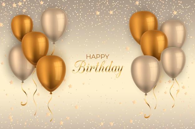 Fundo de aniversário realista com balões Vetor Premium