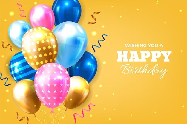 Fundo de aniversário realista com balões Vetor grátis
