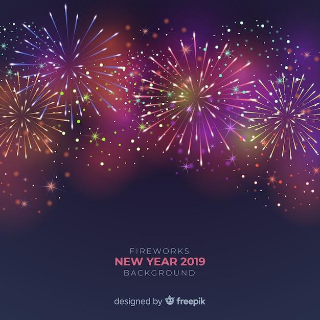 Fundo de ano novo 2019 de fogos de artifício Vetor grátis