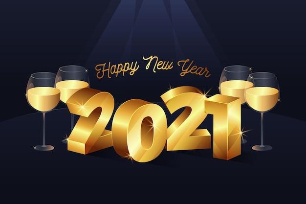 Fundo de ano novo 2021 com decoração dourada realista Vetor grátis