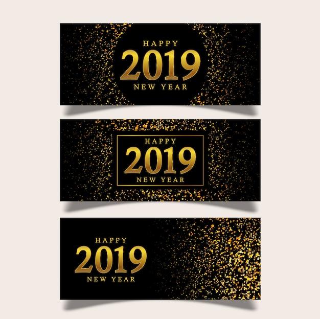 Fundo de ano novo banner Vetor Premium