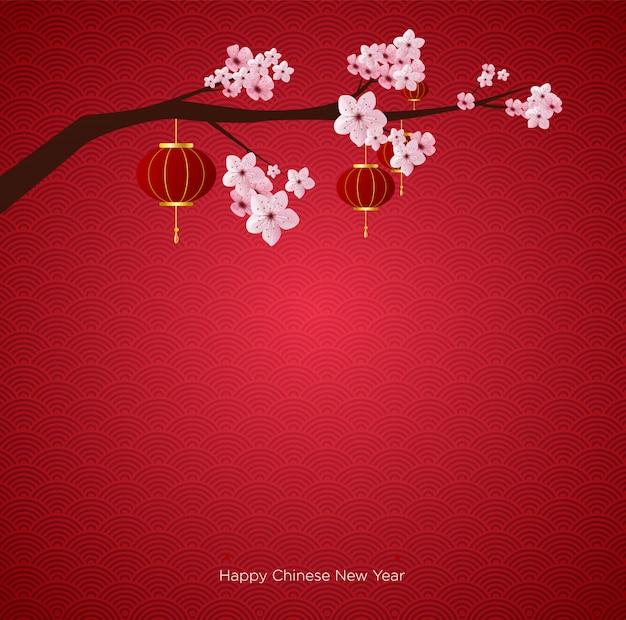 Fundo de ano novo chinês Vetor Premium