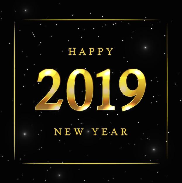 Fundo de ano novo com estrelas douradas Vetor Premium