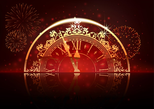 Fundo de ano novo com relógio e fogos de artifício Vetor Premium
