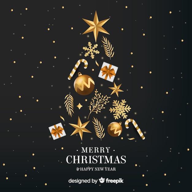 Fundo de ano novo de árvore de natal dourado Vetor grátis