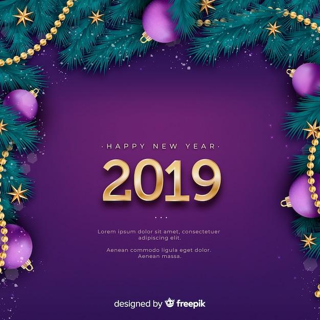 Fundo de ano novo realista de 2019 Vetor grátis