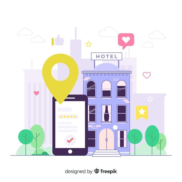 Fundo de aplicativo de reserva de hotel plana Vetor grátis