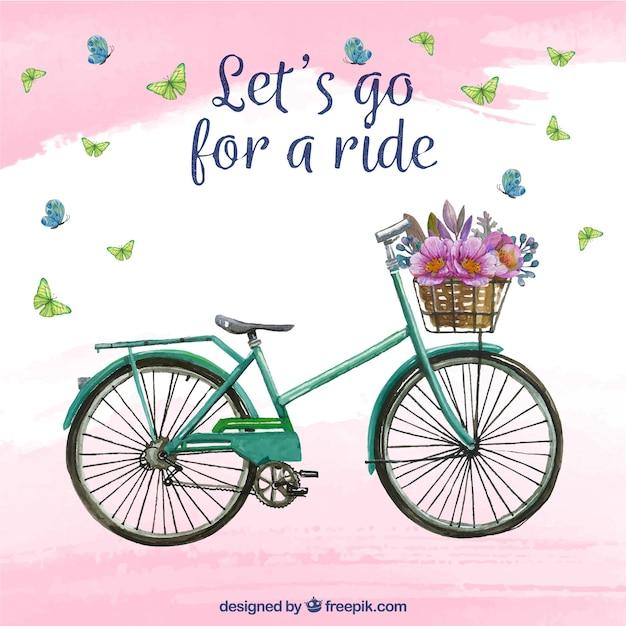 Fundo de aquarela com bicicleta e flores Vetor grátis