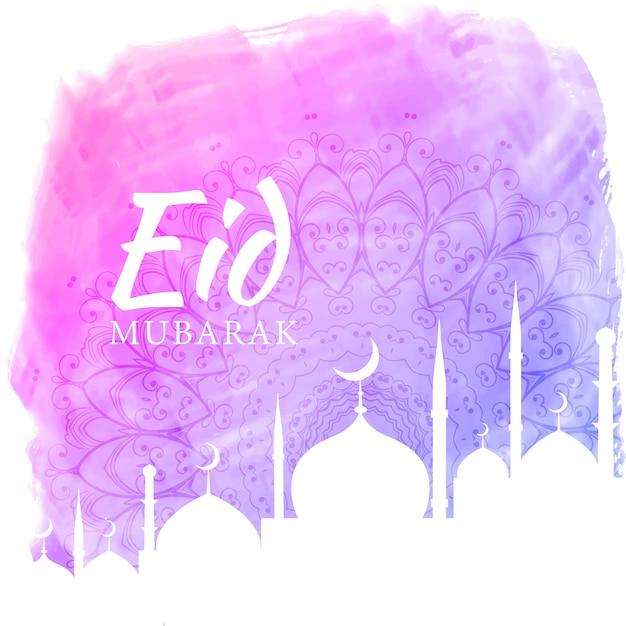 Fundo de aquarela para temporada de festival eid com silhueta de mesquita Vetor grátis