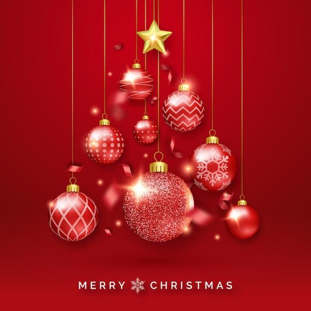 Fundo de árvore de natal com fitas brilhantes, estrelas e bolas coloridas Vetor Premium