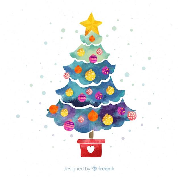 Fundo de árvore de natal em aquarela Vetor grátis