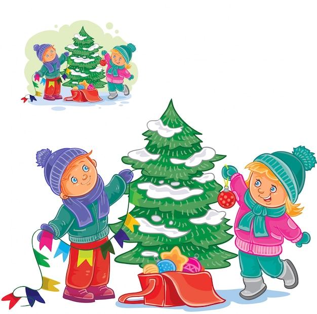 Fundo De árvores De Natal E Crianças