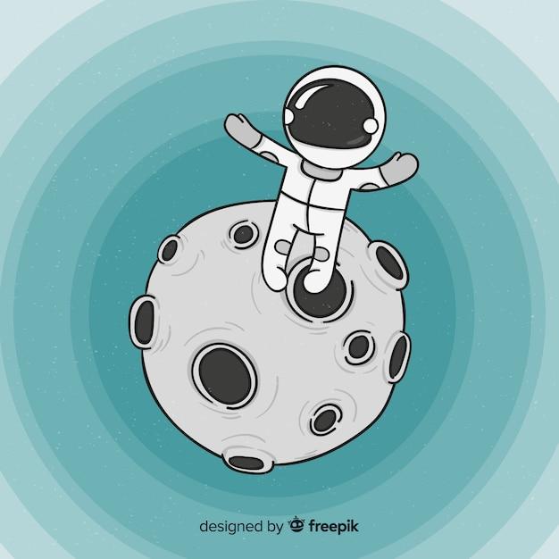 Fundo de astronauta no espaço Vetor grátis