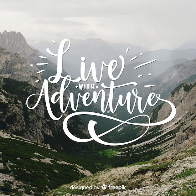 Fundo de aventura letras com foto Vetor grátis