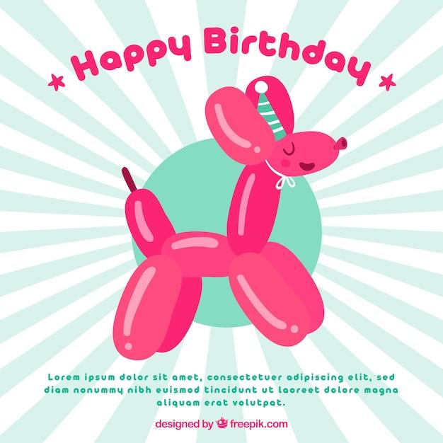 Fundo de balão de aniversário com forma de cachorro Vetor grátis