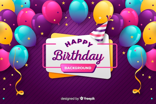 Fundo de balão de aniversário Vetor grátis
