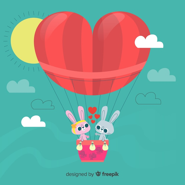 Fundo de balão de ar quente de coração Vetor grátis